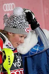 04.01.2013, Crveni Spust, Zagreb, AUT, FIS Ski Alpin Weltcup, Slalom, Damen, Podium, im Bild Mikaela Shiffrin (USA, Platz 1) // 1st place Mikaela Shiffrin of the USA celebrate on podium of the ladies Slalom of the FIS ski alpine world cup at Crveni Spust course in Zagreb, Croatia on 2013/01/04. EXPA Pictures © 2013, PhotoCredit: EXPA/ Pixsell/ Zeljko Lukunic..***** ATTENTION - for AUT, SLO, SUI, ITA, FRA only *****