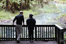 The Duke and Duchess of Sussex during a visit to Redwoods Tree Walk and Mountain Biking Showcase in Rotorua, New Zealand, on day four of the royal couple's tour of New Zealand.