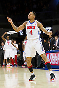 DALLAS, TX - NOVEMBER 25: Keith Frazier #4 of the SMU Mustangs celebrates after a made basket against the Arkansas Razorbacks on November 25, 2014 at Moody Coliseum in Dallas, Texas.  (Photo by Cooper Neill/Getty Images) *** Local Caption *** Keith Frazier