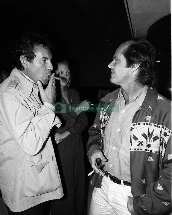 Oct. 5, 1976 - London, England, U.K. - Actor JACK NICHOLSON and MILOS FORMAN at the 'Matter of Time' gala benefit premiere at The Festival Theatre. (Credit Image: © Keystone Press Agency/Keystone USA via ZUMAPRESS.com)