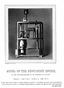 Model of Newcomen steam engine. It was while repairing this engine that Watt is said to have invented the separate condenser. From George Williamson 'Memorials of James Watt' 1856. Lithograph