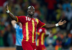 Stephen Appiah of Ghana during the overtime at  2010 FIFA World Cup South Africa Quarter Finals football match between Uruguay and Ghana on July 02, 2010 at Soccer City Stadium in Sowetto, suburb of Johannesburg. Uruguay defeated Ghana after penalty shots. (Photo by Vid Ponikvar / Sportida)