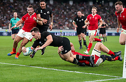 New Zealand's Ben Smith scores a try which is later disallowed during the 2019 Rugby World Cup bronze final match at Tokyo Stadium.