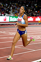 Great Britain's Katarina Johnson-Thompson during the 800m element of Women's Heptathlon during day three of the 2017 IAAF World Championships at the London Stadium.