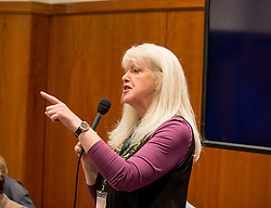 Pictured: Broadcaster and campaigner Lesley Riddoch speaks to a fringe meeting at the conference discussing citizen's assemblies.<br /> <br /> The SNP held their spring conference at the EICC in Edinburgh, where independence and brevet were high on the agenda.<br /> <br /> © Dave Johnston / EEm