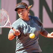 PARIS, FRANCE May 27. Naomi Osaka of Japan practicing on Court Suzanne Lenglen in preparation for the 2021 French Open Tennis Tournament at Roland Garros on May 27th 2021 in Paris, France. (Photo by Tim Clayton/Corbis via Getty Images)