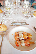 skewer with prawns and scallops chateau la garde pessac leognan graves bordeaux france
