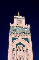 The 210 meter high minaret (the highest minaret in the world) of the Grande Mosquee d'Hassan II, Casablanca, Morocco