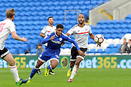 Cardiff City's Kadeem Harris (c) goes past Fulham's Denis Odoi (r). The Emirates FA Cup, 3rd round match, Cardiff city v Fulham at the Cardiff city stadium in Cardiff, South Wales on Sunday 8th January 2017.<br /> pic by Carl Robertson, Andrew Orchard sports photography.