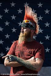 "Sean Carlson sports an incredible Mowhawk at Willie's Tropical Tattoo ""Chopper Time"" old school chopper show during Daytona Bike Week's 75th Anniversary event. Ormond Beach, FL, USA. Thursday March 10, 2016.  Photography ©2016 Michael Lichter."
