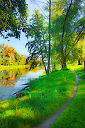 Tranquil morning and riverside path by the Psel River in Sumy, Ukraine