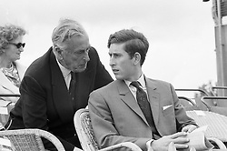 Left to right, EARL MOUNTBATTEN and PRINCE CHARLES at a polo match at Cowdray Park in July 1971.