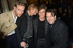 Left to right, JACK FOX, JAMIE CAMPBELL-BOWERS, OLIVER CHESHIRE and JONATHAN ROSS at the Warner Music Brit Party held at the Freemason's Hall, 60 Great Queen Street, London on 25th February 2015.