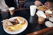 eating an American style breakfast