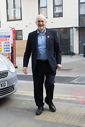 April 29, 2017 - London, London, UK - LONDON, UK.  Jeremy Corbyn, the Labour Party leader arrives to give a speech on leadership as part of his general election campaign. (Credit Image: © Vickie Flores/London News Pictures via ZUMA Wire)
