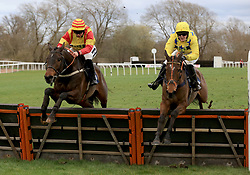 Diger Daudaie (Right) ridden by Abbie McCain clears a hurdle ahead of Nearly Perfect ridden by Bryony Frost and wins the Abacus Decorators Lady Riders' Handicap Hurdle race at Uttoxeter Racecourse.