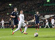 England's Alex Oxlade-Chamberlain scoring his sides opening goal<br /> <br /> - International Friendly - Scotland vs England- Celtic Park - Glasgow - Scotland - 18th November 2014  - Picture David Klein/Sportimage