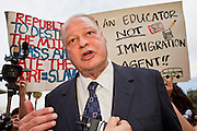 "14 MARCH 2011 - PHOENIX, AZ: TOM HORNE, Arizona's Republican Attorney General, answers reporters' questions at the Arizona State Capitol in Phoenix Monday. Horne has supported toughening the state's anti-immigrant laws and eliminating ""ethnic studies"" programs in the state's public schools. Protests by immigrants' rights activists have continued as the state's conservative Republican legislators debate toughening the state's anti-immigrant bills. Some of the bills the state legislature has debated this year include eliminating birthright citizenship, a law that would require hospitals to check the immigration status of patients checking in for elective care, a bill that would require schools to verify the immigration status of students when they enroll and a bill that would require law enforcement to impound the cars of undocumented immigrants even if they have a legal driver's license from another state.      Photo by Jack Kurtz"
