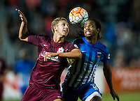 Sac Republic FC Harry Williams (9), and Orange County Blues FC Andrae Campbell (12) fight for the ball during the second half of the USL Western Conference first round playoff game between the Republic FC and the visiting Orange County Blues FC at Bonney Field, Saturday Oct 1, 2016.<br /> photo by Brian Baer