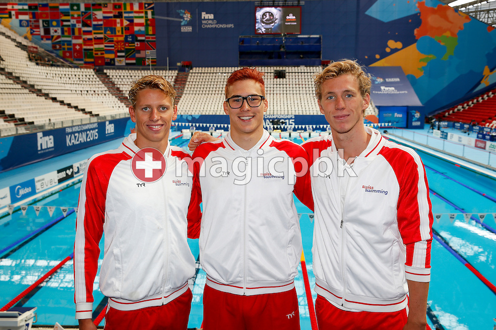 (L-R) Team Geneva with Nils Liess, Alexandre Haldemann and Jeremy Desplanches of Switzerland pose for a photo during the 16th FINA World Swimming Championships held at the Kazan arena in Kazan, Russia, Sunday, Aug. 9, 2015. (Photo by Patrick B. Kraemer / MAGICPBK)