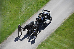 Fell ponies, Balmoral Nevis and Notlaw Storm, pullling the Duke of Edinburgh's driving carriage arrive for the funeral of the Duke in Windsor Castle, Berkshire. Picture date: Saturday April 17, 2021.