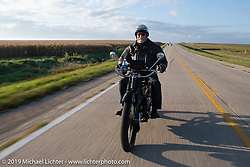 Vern Acres riding his 4-cylinder Henderson on the Motorcycle Cannonball coast to coast vintage run. Stage 7 (274 miles) from Cedar Rapids to Spirit Lake, IA. Friday September 14, 2018. Photography ©2018 Michael Lichter.