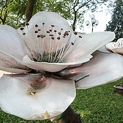 A sculpture of a large flower on the shore of Hoan Kiem Lake, Hanoi, Vietnam.