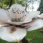 A sculpture of a large flower on the shore of Hoan Kiem Lake, Hanoi, Vietnam.