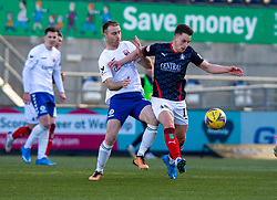 20MAR21 Montrose Sean Dillon and Falkirk's Robbie Leitch. Falkirk 2 v 0 Montrose, Scottish Football League Division One game played 20/3/2021 at The Falkirk Stadium.
