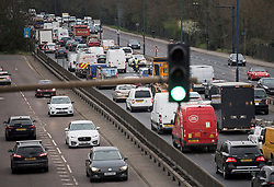 © Licensed to London News Pictures. 29/03/2021. London, UK. Heavy traffic on the A40 at Perivale in west London in the early morning, on the day that some lockdown restrictions are eased. Photo credit: Ben Cawthra/LNP