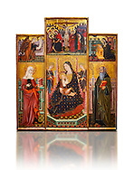 Gothic painted Panel Altarpiece of the Virgin Suckling the Child, Saint Clare and Saint Anthony the Abbott by the Workshop of Llorenc Saragossa. Tempera and gold leaf on wood. Date Last quarter of 14th century. Dimesions 207 x 187.5 x 10 cm. From Xelva (Valencia). National Museum of Catalan Art, Barcelona, Spain, inv no: 064027-CJT .<br /> <br /> If you prefer you can also buy from our ALAMY PHOTO LIBRARY  Collection visit : https://www.alamy.com/portfolio/paul-williams-funkystock/romanesque-art-antiquities.html<br /> Type -     MNAC     - into the LOWER SEARCH WITHIN GALLERY box. Refine search by adding background colour, place, subject etc<br /> <br /> Visit our ROMANESQUE ART PHOTO COLLECTION for more   photos  to download or buy as prints https://funkystock.photoshelter.com/gallery-collection/Medieval-Romanesque-Art-Antiquities-Historic-Sites-Pictures-Images-of/C0000uYGQT94tY_Y