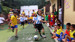 KATHMANDU, June 21, 2018  Children play football at a local school in Kathmandu, Nepal, June 20, 2018. Children enjoyed the fun of playing football as the 2018 FIFA World Cup goes on in Russia. (Credit Image: © Sunil Sharma/Xinhua via ZUMA Wire)