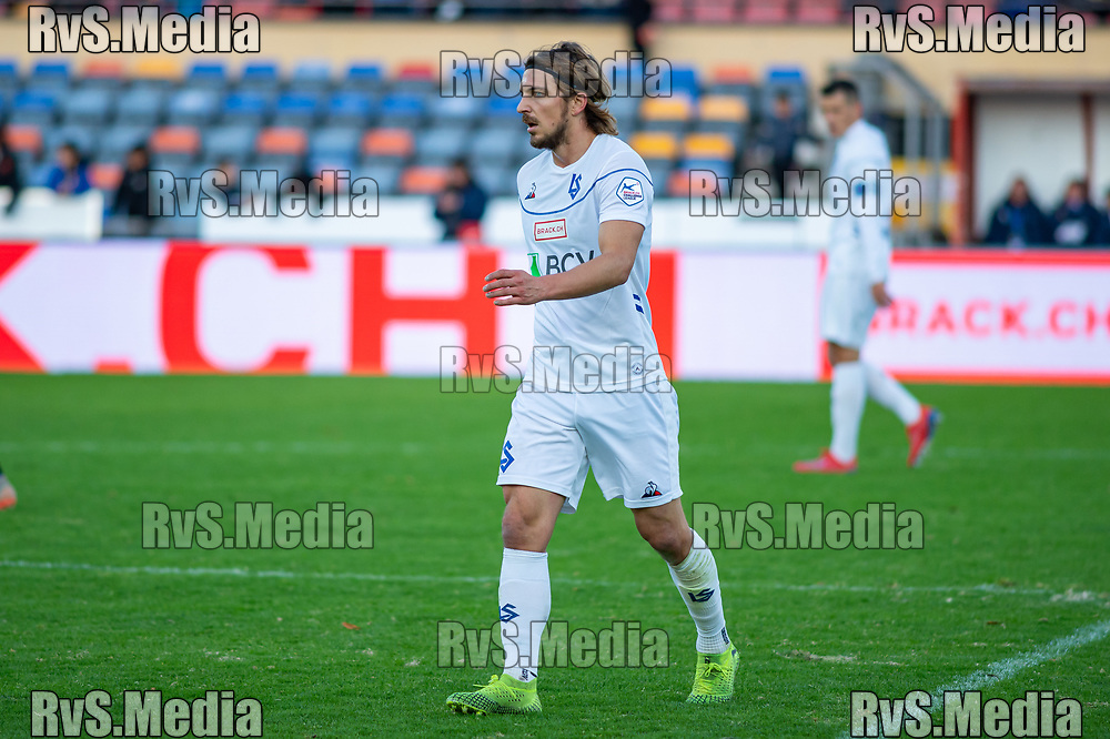 LAUSANNE, SWITZERLAND - NOVEMBER 10: #14 Alexandre Pasche of FC Lausanne-Sport looks on during the Challenge League game between FC Lausanne-Sport and FC Schaffhausen at Stade Olympique de la Pontaise on November 10, 2019 in Lausanne, Switzerland. (Photo by Monika Majer/RvS.Media)
