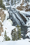Gibbon Falls during winter in Yellowstone National Park