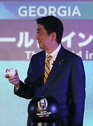 KYOTO, JAPAN - MAY 10: Shinzo Abe, Prime Minister of Japan draws Japan during the Rugby World Cup 2019 Pool Draw at the Kyoto State Guest House on May 10, in Kyoto, Japan. Photo by Dave Rogers - World Rugby/PARSPIX/ABACAPRESS.COM