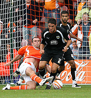 Photo: Paul Greenwood.<br />Blackpool v Bristol City. Coca Cola Championship. 18/08/2007.<br />Blackpool's Keigan Parker (L) steals the ball from the feet of Bristol's Bradley Orr