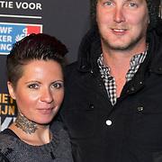 NLD/Amsterdam/20140210 - Filmpremiere Kankerlijers, Sanne Kraaijkamp en partner Geerd Smid