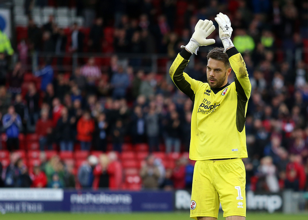 Crawley Town's Glenn Morris applauds the travelling fans at the final whistle<br /> <br /> Photographer David Shipman/CameraSport<br /> <br /> The EFL Sky Bet League Two - Lincoln City v Crawley Town - Saturday September 8th 2018 - Sincil Bank - Lincoln<br /> <br /> World Copyright © 2018 CameraSport. All rights reserved. 43 Linden Ave. Countesthorpe. Leicester. England. LE8 5PG - Tel: +44 (0) 116 277 4147 - admin@camerasport.com - www.camerasport.com