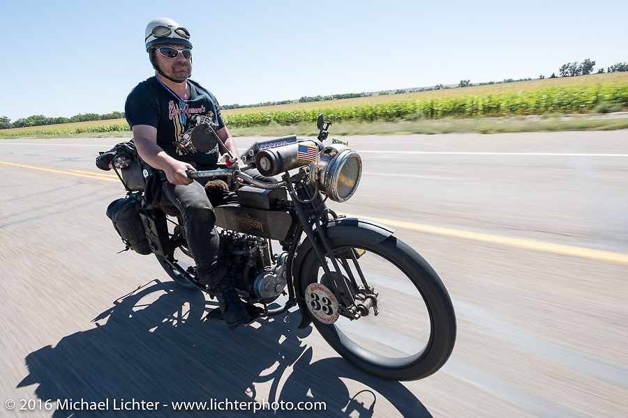 Andy Kaindl of Germany riding his 4-cylinder 1915 Henderson class-2 motorcycle during the Motorcycle Cannonball Race of the Century. Stage-9 Dodge City, KS to Pueblo, CO. USA. Monday September 19, 2016. Photography ©2016 Michael Lichter.