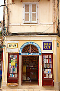 tobacconist , Corfu Old Town, Greek Ionian Islands .<br /> <br /> If you prefer to buy from our ALAMY PHOTO LIBRARY  Collection visit : https://www.alamy.com/portfolio/paul-williams-funkystock/corfugreece.html <br /> <br /> Visit our GREECE PHOTO COLLECTIONS for more photos to download or buy as wall art prints https://funkystock.photoshelter.com/gallery-collection/Pictures-Images-of-Greece-Photos-of-Greek-Historic-Landmark-Sites/C0000w6e8OkknEb8