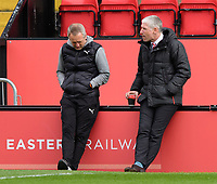 Blackpool manager Neil Critchley, left, and Lincoln City's director of football Jez George prior to the game<br /> <br /> Photographer Chris Vaughan/CameraSport<br /> <br /> The EFL Sky Bet League One - Saturday 10th April 2021 - Lincoln City v Blackpool - LNER Stadium - Lincoln<br /> <br /> World Copyright © 2021 CameraSport. All rights reserved. 43 Linden Ave. Countesthorpe. Leicester. England. LE8 5PG - Tel: +44 (0) 116 277 4147 - admin@camerasport.com - www.camerasport.com