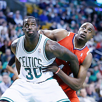 08 March 2013: Atlanta Hawks power forward Anthony Tolliver (4) vies for the rebound with Boston Celtics power forward Brandon Bass (30) during the Boston Celtics 107-102 OT victory over the Atlanta Hawks at the TD Garden, Boston, Massachusetts, USA.