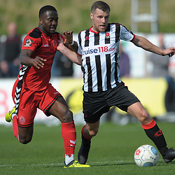 TELFORD COPYRIGHT MIKE SHERIDAN 6/4/2019 - Dan Udoh of AFC Telford battles for the ball with Jake Cottrell during the Vanarama Conference North fixture between Chorley FC and AFC Telford United at Victory Park