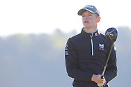 Keaton Morrison (Holywood) on the 2nd tee during Round 2 of the Ulster Boys Championship at Donegal Golf Club, Murvagh, Donegal, Co Donegal on Thursday 25th April 2019.<br /> Picture:  Thos Caffrey / www.golffile.ie