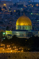 The Dome of the Rock on the Temple Mount illuminated at twilight, Jerusalem, Israel