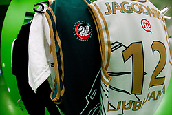 Jersey of Goran Jagodnik of Olimpija during basketball match between KK Union Olimpija (SLO) and Lottomatica Roma (ITA) in Group F of Top 16 Turkish Airlines Euroleague, on February 23, 2011 in Arena Stozice, Ljubljana, Slovenia. Lottomatica defeated 87-76. (Photo By Vid Ponikvar / Sportida.com)