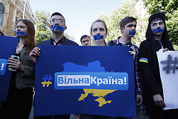 May 19, 2017 - Kiev, Ukraine - Ukrainians take part at a rally with demand to abolish the ban of the VKontakte social media network, in front the President Administration, in Kiev, Ukraine, 19 May, 2017. Ukrainian President Petro Poroshenko's office on May 16 published the decree that he signed a day earlier, freezing the assets and banning the operations of hundreds of Russian companies in Ukraine. The decree also calls for blocking access to dozens of Russia's most popular websites for three years, including social media network VKontakte, the email provider Mail.ru and the search engine Yandex. (Credit Image: © Str/NurPhoto via ZUMA Press)