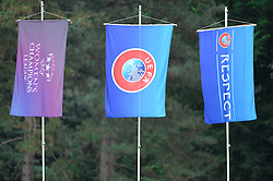 3 Flags of UEFA during the UEFA Women's Champions League Qualifying Match between ZNK Teleing Pomurje (SLO) and Olimpia Cluj (ROU) at Sportni Park on August 16, 2015 in Beltinci, Slovenia. Photo by Mario Horvat / Sportida