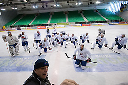 Matjaz Kopitar with his team at Slovenian National Team First Ice Hockey Practice for IIHF World Championship in Bratislava, on April 11, 2011 at Hala Tivoli,  Ljubljana, Slovenia. (Photo By Matic Klansek Velej / Sportida.com)