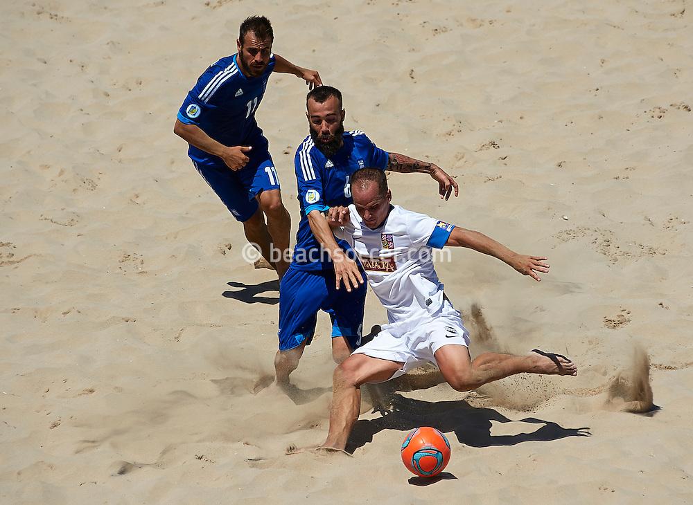 TORREDEMBARRA, SPAIN - AUGUST 09 :  Euro Beach Soccer League Superfinal 2013 at Torredembarra Beach on August 09, 2013 in Torredembarra, Spain. (Photo by Manuel Queimadelos)